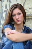 Aantrekkelijke tiener in blauw Royalty-vrije Stock Fotografie