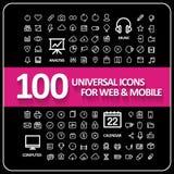 Aantrekkelijke 100 universele geplaatste pictogrammen Stock Afbeelding