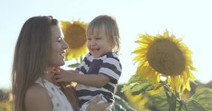 Aantrekkelijke vrouw die een kleine jongen in haar wapens op een gebied met zonnebloemen houden stock videobeelden