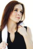 Aantrekkelijke vrouw die gymnastiekkleding draagt Stock Afbeelding