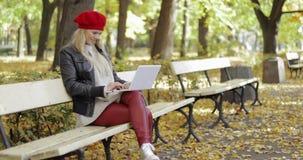 Aantrekkelijke vrouw die laptop in park met behulp van stock videobeelden