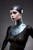 Aantrekkelijke vrouw in het korset van de latexhals Royalty-vrije Stock Foto's