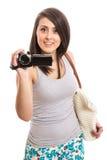 Aantrekkelijke vrouw met videorecorder Royalty-vrije Stock Fotografie