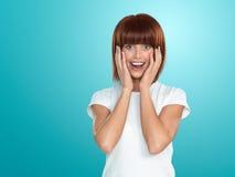 Aantrekkelijke vrouw verraste gezichtsuitdrukking Stock Foto's