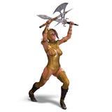Aantrekkelijke vrouwelijke ridderhandeling als wacht Stock Foto