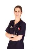 Aantrekkelijke vrouwelijke verpleegster met stethoscoop Stock Afbeeldingen