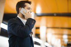 Aantrekkelijke zakenman die door mobiele telefoon spreken terwijl het wachten op trein in metro stock afbeelding