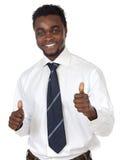 Aantrekkelijke zakenman die een triomf viert Royalty-vrije Stock Afbeelding