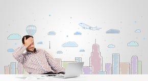 Aantrekkelijke zakenman met de achtergrond van de stadshemel -hemel-scape Stock Foto's