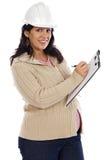 Aantrekkelijke zwangere ingenieur Stock Afbeelding