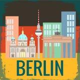 Aantrekkelijkheden Berlijn op Duitse vlagachtergrond Stock Afbeelding