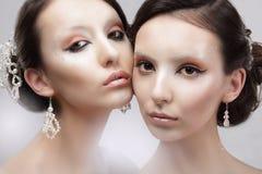 aantrekkingskracht Portret van Twee Vrouwen met Glanzende Glanzende Make-up Royalty-vrije Stock Afbeeldingen