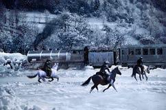 Aanval aan de trein Royalty-vrije Stock Afbeeldingen