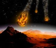 Aanval van de asteroïde op de planeet Stock Afbeelding