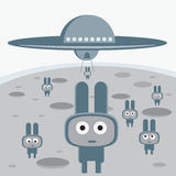Aanval van de grijze vreemdelingen op uw planeetkarakter Stock Foto's
