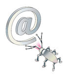 Aanval van virus of spion op e-mail. Royalty-vrije Illustratie