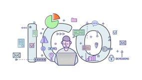 Aanvankelijk Muntstuk die, ICO aanbieden Conceptenlijst met computergebruiker, brieven en pictogrammen Gekleurde vlakke vectorill Royalty-vrije Stock Foto's