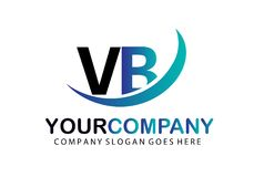 Aanvankelijke Brief VB Logo Concept Design Stock Afbeeldingen