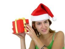 Aanwezige Kerstmis van de Holding van het meisje stock afbeeldingen