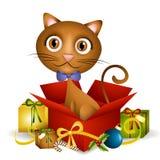 Aanwezige Kerstmis van het katje Stock Afbeeldingen