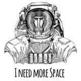 Aap, baviaan, hond-aap, aapastronaut Ruimtepak Hand getrokken beeld van leeuw voor tatoegering, t-shirt, embleem, kenteken, emble stock illustratie