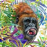 Aap in de tropische de aardillustratie van de regenwoudwaterverf wildlife royalty-vrije illustratie