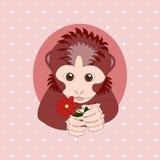 Aap die een rode bloem houden Druk voor kaarten Royalty-vrije Stock Foto's