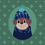 Aap in een donkerblauwe GLB en een sjaal Royalty-vrije Stock Foto's
