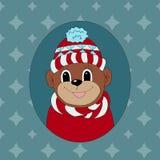 Aap in een rode GLB en een sjaal Royalty-vrije Stock Afbeeldingen