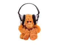 Aap een zacht stuk speelgoed in oortelefoons Royalty-vrije Stock Foto