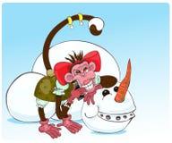 Aap en sneeuwman Stock Foto's