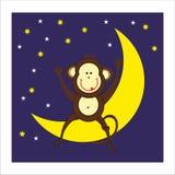 Aap, maan en nacht Royalty-vrije Stock Afbeeldingen