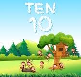Aap tien bij het bos vector illustratie