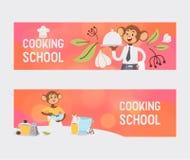 Aap zoals de vectorillustratie van het mensenkarakter Wilde beeldverhaal dierlijke speel het koken en het eten maaltijd professio stock illustratie