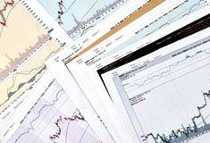 AAPL, GOOG, AMZN, gráficos do castiçal dos relógios do FB Imagem de Stock Royalty Free