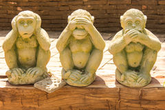 3 aapstandbeeld in Thaise tempel Royalty-vrije Stock Fotografie