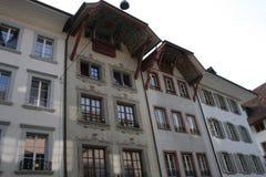 Aarau är en stad, en kommun och huvudstaden av den nordliga schweiziska kantonen av Aargau Royaltyfri Bild