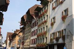 Aarau är en stad, en kommun och huvudstaden av den nordliga schweiziska kantonen av Aargau Arkivbild