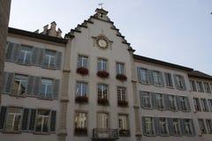 Aarau är en stad, en kommun och huvudstaden av den nordliga schweiziska kantonen av Aargau Fotografering för Bildbyråer