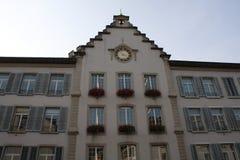 Aarau ist eine Stadt, ein Stadtbezirk und das Kapital des Schweizer Nordbezirks von Aargau Stockbilder