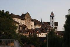 Aarau ist eine Stadt, ein Stadtbezirk und das Kapital des Schweizer Nordbezirks von Aargau Stockfotografie