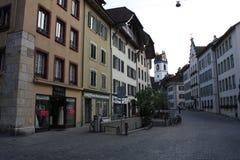 Aarau ist eine Stadt, ein Stadtbezirk und das Kapital des Schweizer Nordbezirks von Aargau Lizenzfreie Stockfotos