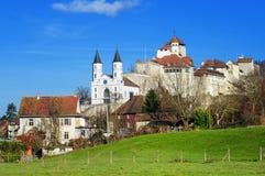 Aarburg-Schloss, die Schweiz Stockfotografie