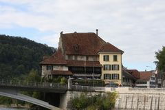 Aarburg-Stadt in der Schweiz Lizenzfreies Stockbild