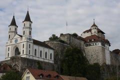 Aarburg-Stadt in der Schweiz Stockbild