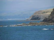 Aard Achtergrondkustmening Aberyswyth Wales Stock Afbeeldingen