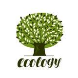 Aard, ecologie, bosembleem of etiket Abstracte groene boom met bladeren Decoratieve vectorillustratie stock illustratie