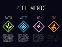 Aard 4 elementen in van de de grens abstract gradiënt van de diamantlijn het pictogramteken Water, Brand, Aarde, Lucht Op donkere Stock Foto's