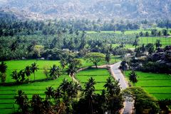 Aard groen landschap bij hampi stock foto's
