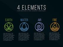 Aard 4 het embleemteken van de elementencirkel Water, Brand, Aarde, Lucht Op donkere achtergrond Stock Fotografie
